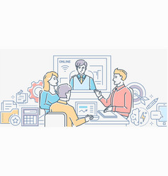 Video conference - colorful line design style vector