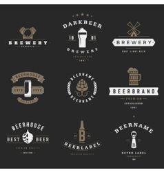 Vintage beer brewery logos emblems labels vector