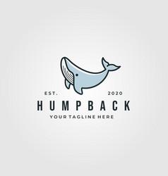 vintage humpback whale logo design whale cartoon vector image