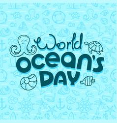 world oceans day concept doodle logo vector image