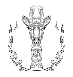 Zentangle Giraffe head totem in frame for adult vector image