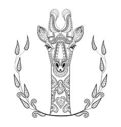 Zentangle giraffe head totem in frame for adult vector