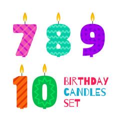 flat design birthday candle set vector image