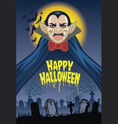 halloween greeting card with dracula cartoon vector image vector image
