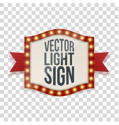 illuminated sign with bulbs and decorative ribbon vector image