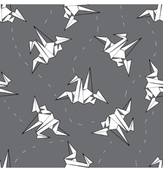 seamless background white origami crane on vector image vector image