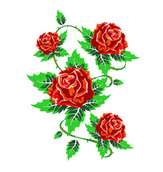 several red roses with leaves vector image vector image