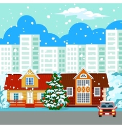 Winter cityscape buildings vector image