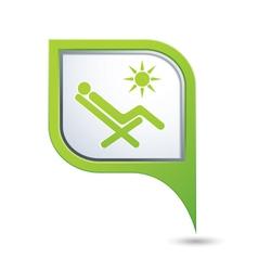 Beach chair icon on green pointer vector