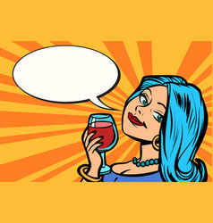 lovely woman with a glass of wine vector image vector image