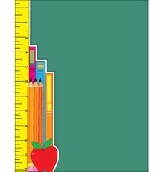 ruler pencils books vector image