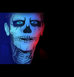 skeleton man makeup vector image vector image