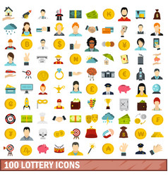 100 lottery icons set flat style vector image
