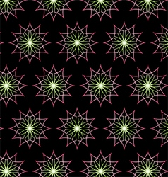 Abstract Pink Neon Flower Pattern on Black vector image vector image