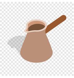 brown coffee cezve isometric icon vector image vector image