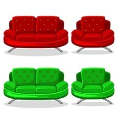 cartoon colorful armchair and sofa set 11 vector image