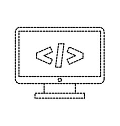 computer monitor technology programming language vector image vector image