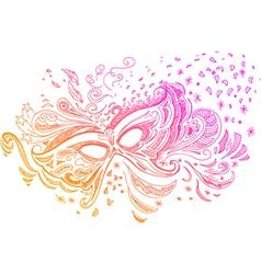Elegant sketched with carnival mask vector image vector image