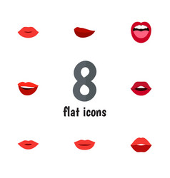 Flat icon lips set of teeth tongue kiss and vector