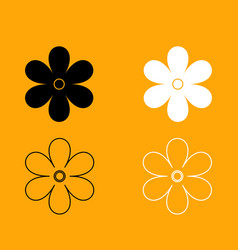 flower set black and white icon vector image