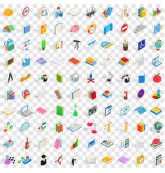 100 learning icons set isometric 3d style vector