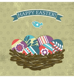 background with easter eggs on grunge background vector image vector image