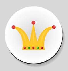 golden crown sticker icon flat style vector image