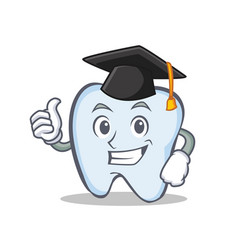 graduation tooth character cartoon style vector image vector image