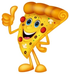 Happy pizza cartoon with thumb up vector