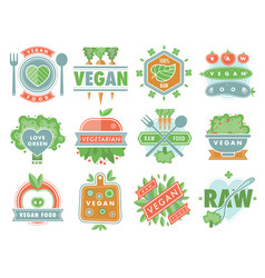organic vegan healthy food eco restaurant logo vector image vector image