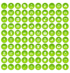100 love icons set green circle vector