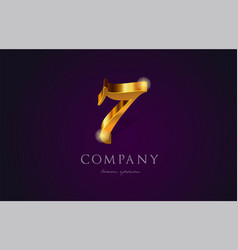 7 seven gold golden number numeral digit logo vector