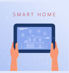 a tablet with smart home settings and controllers vector image