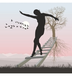A woman on a ladder to flying tree vector image