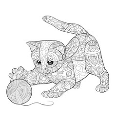adult coloring bookpage a cute cat playing with vector image
