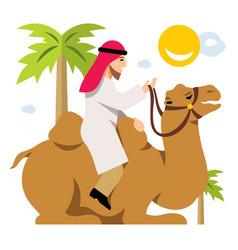 Arab cameleer riding a camel flat style vector