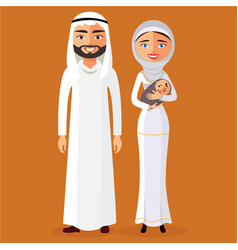 Arab couple with a newborn baby happy vector