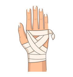 Bandage hand bandaging wrist injury first aid vector