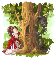 Beauty and beast fairytale vector