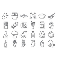 Bio product allergy icons set outline style vector
