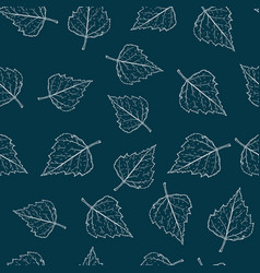 birch leaves seamless pattern on dark background vector image