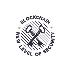 Blockchain - new level of security emblem concept vector