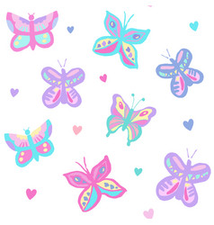butterflies with hearts pastel vector image