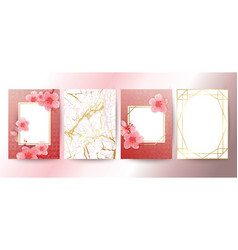 Card with cherry blossoms geometric frame white vector