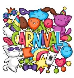 Carnival party kawaii print Cute cats vector