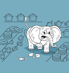 cartoon a funny clumsy elephant in a china shop vector image