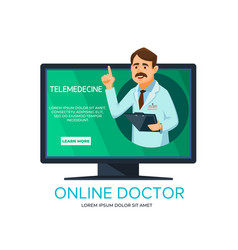 Cartoon online doctor consultation vector