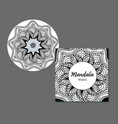 Cd cover design template with floral mandala style vector