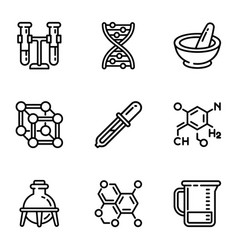 chemistry science icon set outline style vector image