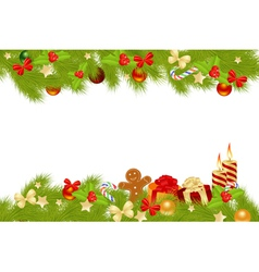christmas card background with decorations vector image